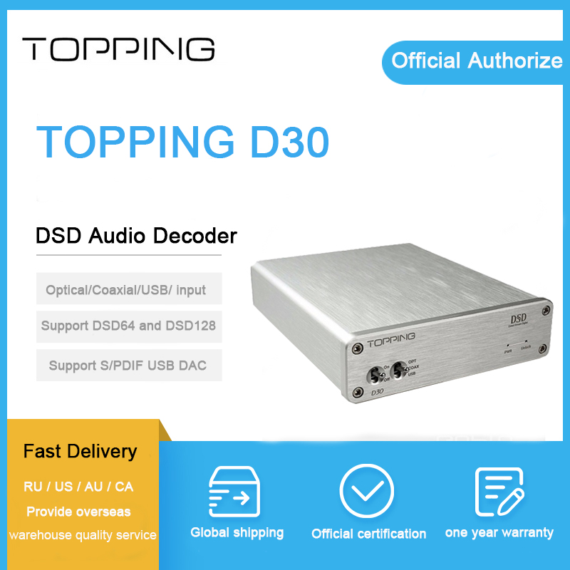 TOPPING D30 decoder CS4398 chip USB Coaxial Optical Input XMOS CS4398 24Bit 192KHz dsd 128 decoder amplifier мышь genius nx 9000bt v2 silver