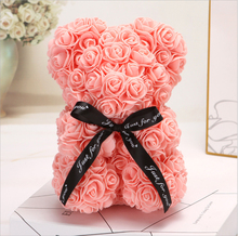 25CM Romantic Rose Bear Artificial Anniversary Mothers Day Valentines Gift Thanksgiving Decorations for Home Dropshipping