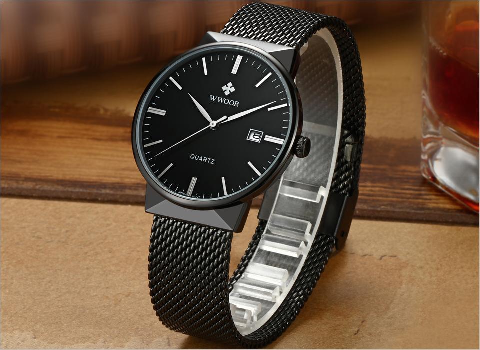 WWOOR Brand Luxury Men Waterproof Stainess Steel Casual Gold Watches Men's Quartz Sport Wrist Watch Male Clock relogio masculino 2