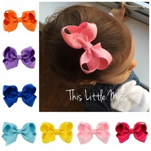 Fashion new 3-inch bow hair clip solid color polyester rib band children accessories gift birthday gi