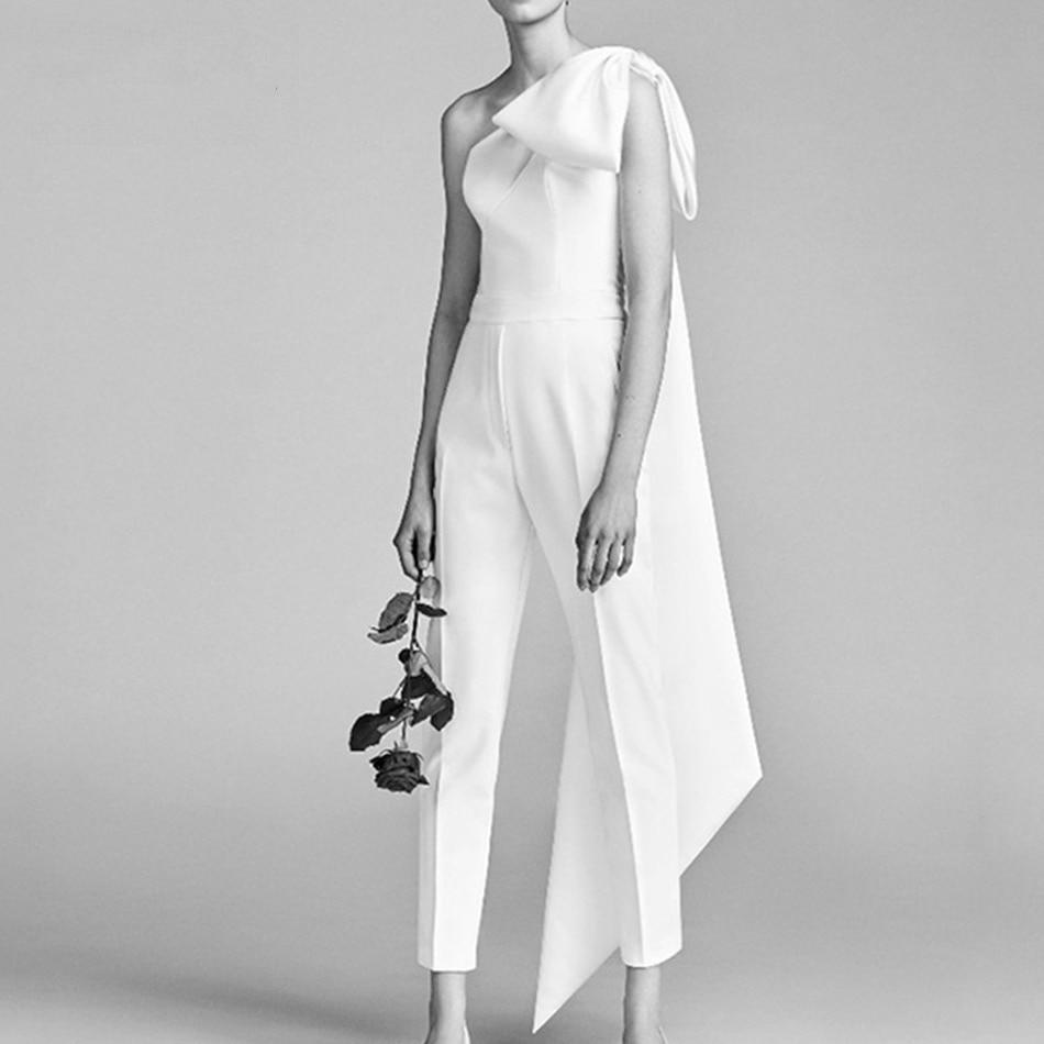 Seamyla High Quality White Jumpsuits 2018 New Fashion Bow Fringe Women Jumpsuit Elegant One Shoulder Celebrity Party Playsuits