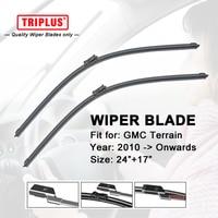 Wiper Blade For GMC Terrain 2010 Onwards 1set 24 17 Flat Aero Beam Windscreen Wipers Frameless