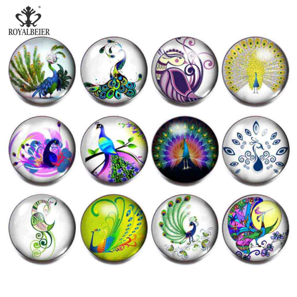 ROYALBEIER 12pcs/lot Beautiful Colorful Peacock and Butterfly Mixed Patterns 18mm Glass Snap Buttons For DIY Bracelet Jewelry