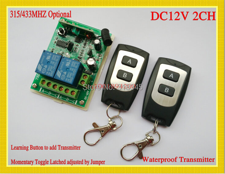 wireless remote control switch system 12V2CH RF 1receiver&2transmitter M4/T4/L4change freely Add control freely Waterproof dc24v 15ch rf wireless switch remote control system receiver