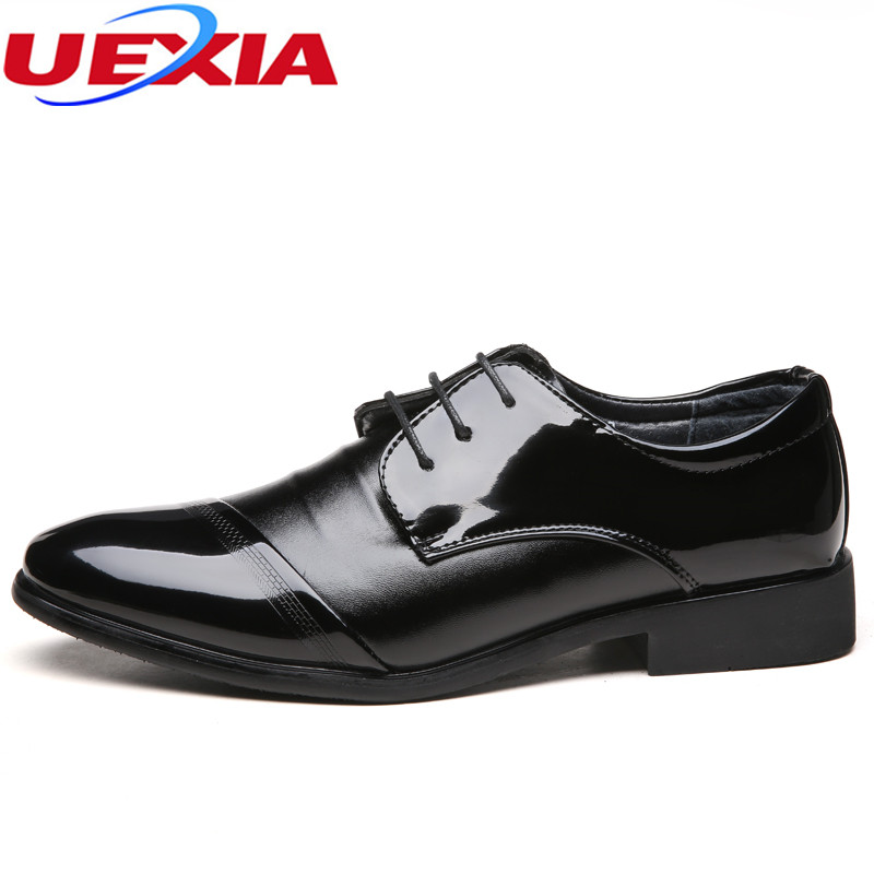 UEXIA New Leather Dress Shoes Men High Quality Oxford Shoes For Men Lace-Up Business Wedding Flats Breathable Formal Luxury Work new arrival high quality genuine leather men shoes lace up casual business shoes men wedding shoes fashion dress shoes size39 44