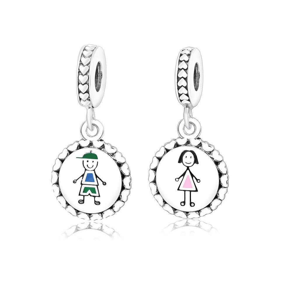 2018 Authentic 925 Sterling Silver Bead Charm Boy & Girl Beads Fit Original Pandora Charm Bracelet & Bangle Necklace DIY Jewelry