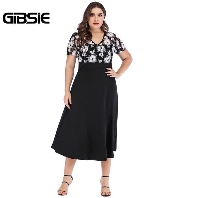 GIBSIE 5xl 4xl Vintage Floral Lace Casual Party Dress Summer Women Black Elegant Plus Size V Neck Short Sleeve A Line Long Dress