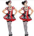 2016 new girl  Adult Clown Circus Funny Harley Quinn Cosplay Costume  Carnival Halloween Costumes For Women