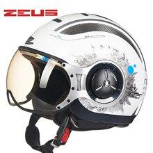 ZEUS Мотоциклетный Шлем Мотокросс Открытым Лицом Защитный Каско Старинных Мотоциклов Moto Four Seasons Уличной Езды Morocicleta Каско