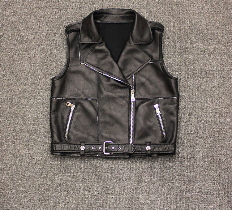 hot fashion genuine leather vest womens natural sheepskin vest real leather vest biker leather vest girl UPS free shipping
