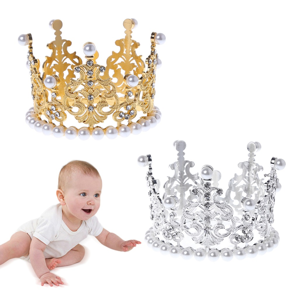 Baby Crown Photography Props Luxury Fashion Pearl Rhinestone Glitter Gold Silver Photo Birthday Party Decoration Girls Princess
