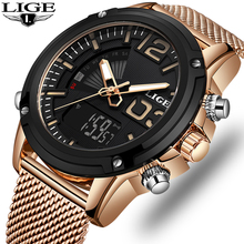 LIGE Hot Mens Watches Top Luxury Brand Sports Watches Men's Quartz LED Digital W