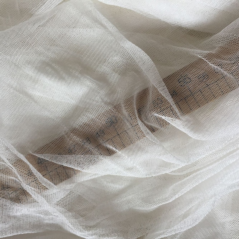 Howmay 100 pure silk tulle knitted fabric 30gsm 135cm white transparent soft tulle fabric for wedding