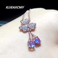 KJJEAXCMY boutique jewelry,Boutique Blue Moonstone Pendant, 925 silver inlaid silver ornaments, necklace, female