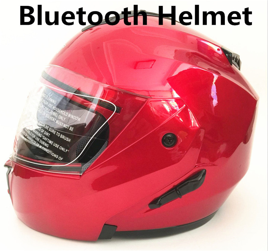 2018 Newest Flip Up motorcycle helmet face Motorbike helmets made of ABS PC visor lens with Bluetooth moto casco