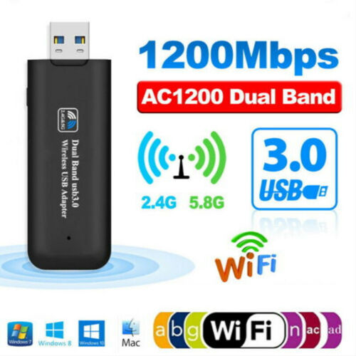 1200Mbps Mini USB Wireless WiFi Lan Network Receiver Card Adapter For Desktop PC
