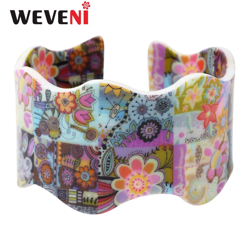 WEVENI Original Comfortable Wide Love Fresh Flower Printing Bracelets Bangles New Fashion Acrylic Jewelry Accessories For Women