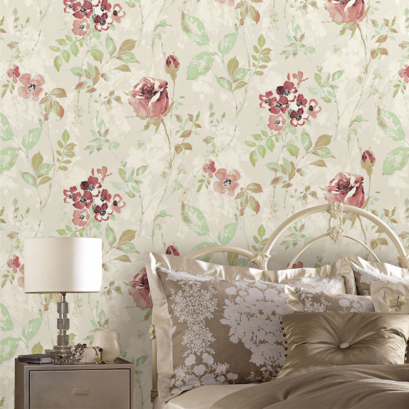 Classic pastoral floral wallpaper red rose wall mural for Classic mural wallpaper