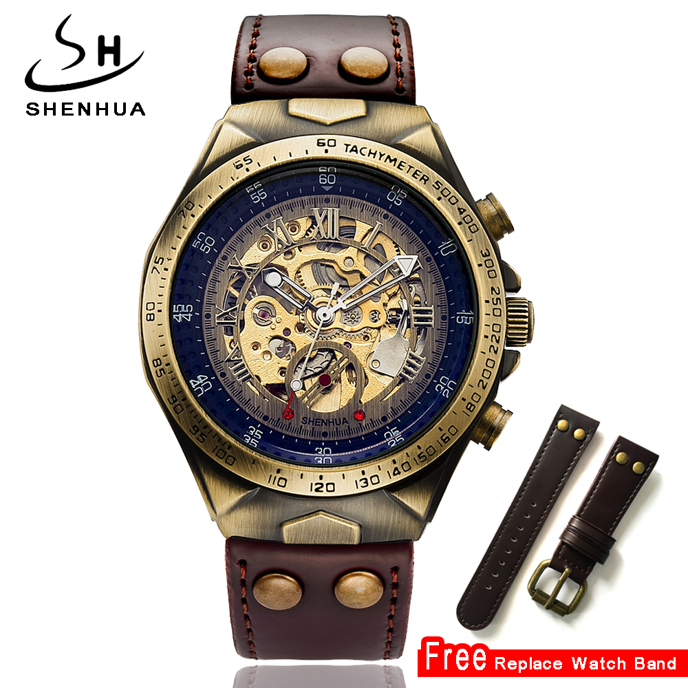 Steampunk Mechanical Skeleton Watch Men 2018 Automatic Self Winding Mens Leather Watches Mechanical Clock Mechanism Wristwatch 2016 hot sale auto mechanical self winding leather strap automatic silver mens watch black page 4