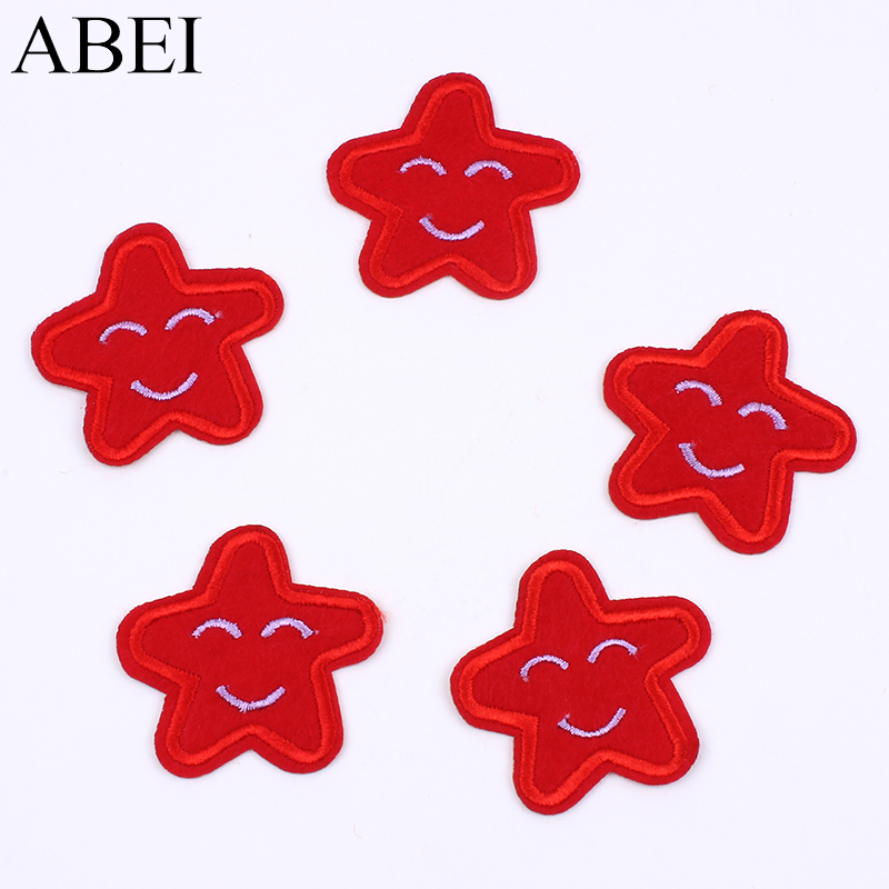 20pcs/lot Iron On Cartoon Red Star Patch Embroidery Smiling Face Sticker handmade Appliques Accessories DIY Kids Clothing Patch