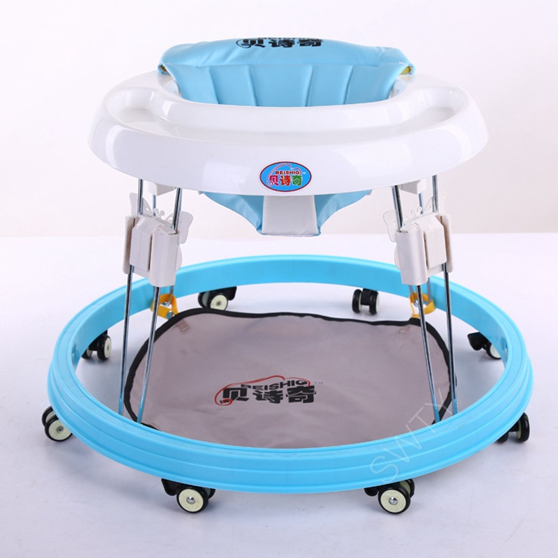 Baby Rollover Walker with Wheels Baby Walker PU Seat Cushion Foldable Toddler Learning to Walker Car Walking Assistant foldable baby learning multifunctional baby walker with 6 wheels anti rollover walker car walking assistant music light 7 18 m