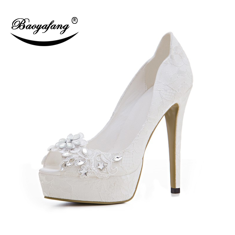BaoYaFang 2018 New Super Heel Platform Shoes Woman Wedding Shoes Bride High Shoes Ladies White Lace Party Shoes Female Peep Toe