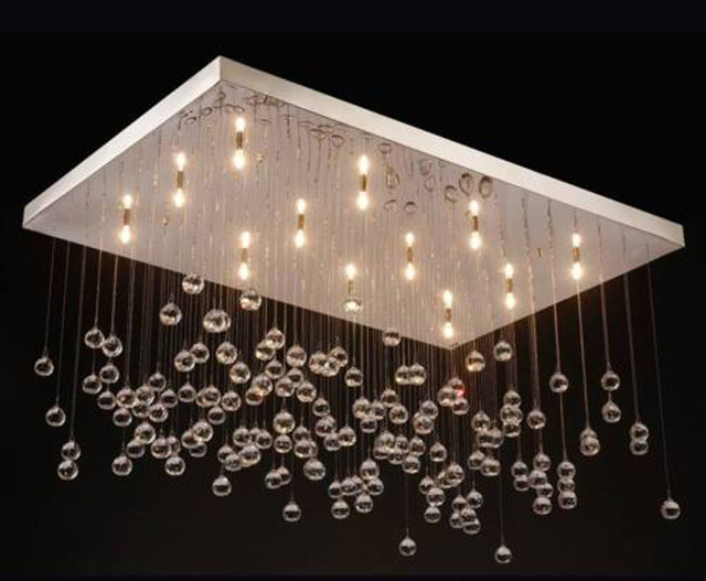 Modern Luxury Crystal Ball Rain Drop Ceiling Chandelier Lamp     Modern Luxury Crystal Ball Rain Drop Ceiling Chandelier Lamp Suspension Light  Lighting Fixture for Dinning Room
