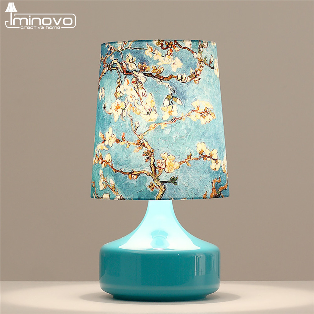 Aliexpress buy iminovo decorative table lamps bluebeige aliexpress buy iminovo decorative table lamps bluebeige printing fabric lampshade e27 110v220v glass lamp holder desk lamp lights for reading from geotapseo Choice Image