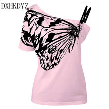 2017 The New Summer Cotton Top Shirts Women T Shirts Skew Collar Butterfly Print Tshirt Ladies Plus Size T-shirt Tees Tops