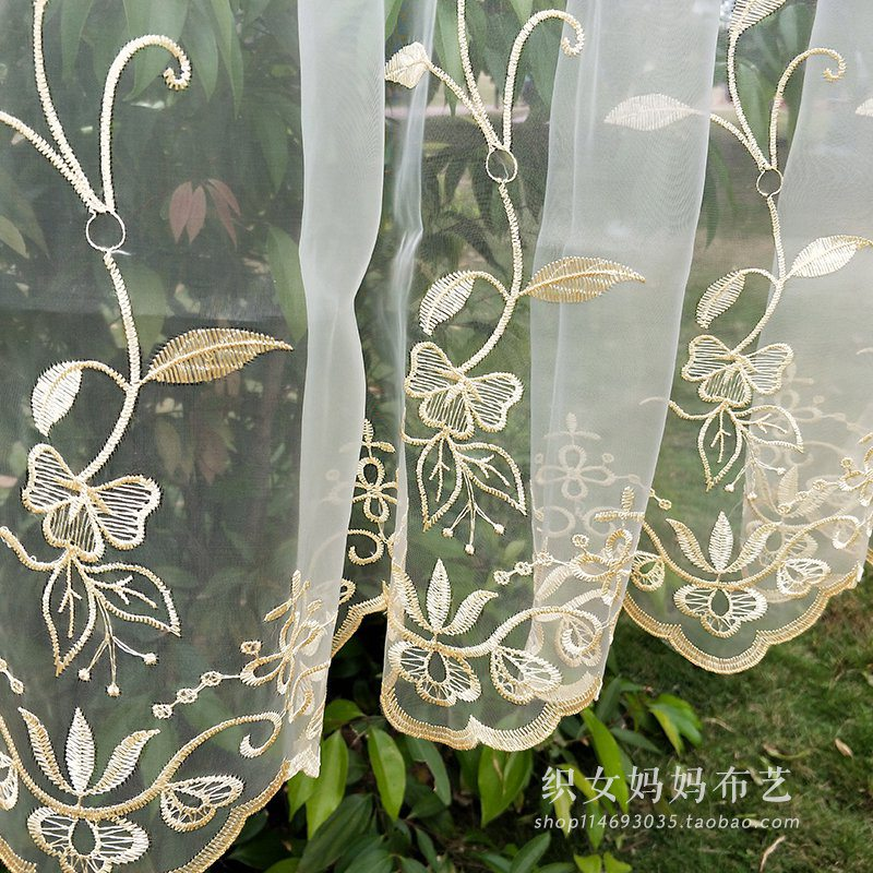 1 pc American Style leaf sheer tulle window curtains for the bedroom tulle curtains for Living room cortinas dormitorio