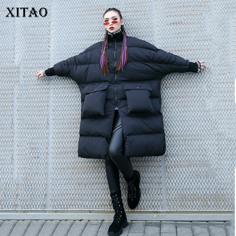[XITAO] New Arrival Women 2018 Autumn Korea Fashion Full Sleeve Stand Collar Thicj Solid Color Loose Casual   Parka   ZLL2499