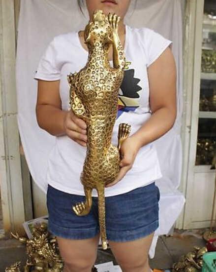 """13 """"ขนาดใหญ่ทองเหลืองเก็บเสือดาวเสือชีต้าRunรูปปั้นตกแต่งทองเหลืองร้านค้าโรงงาน"""