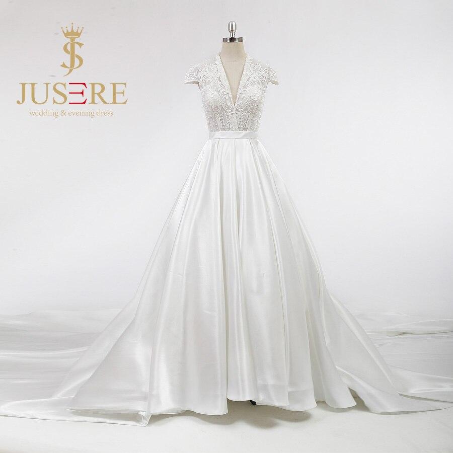 Vintage design cap sleeves lace bodice v neck soft satin for Plain a line wedding dress