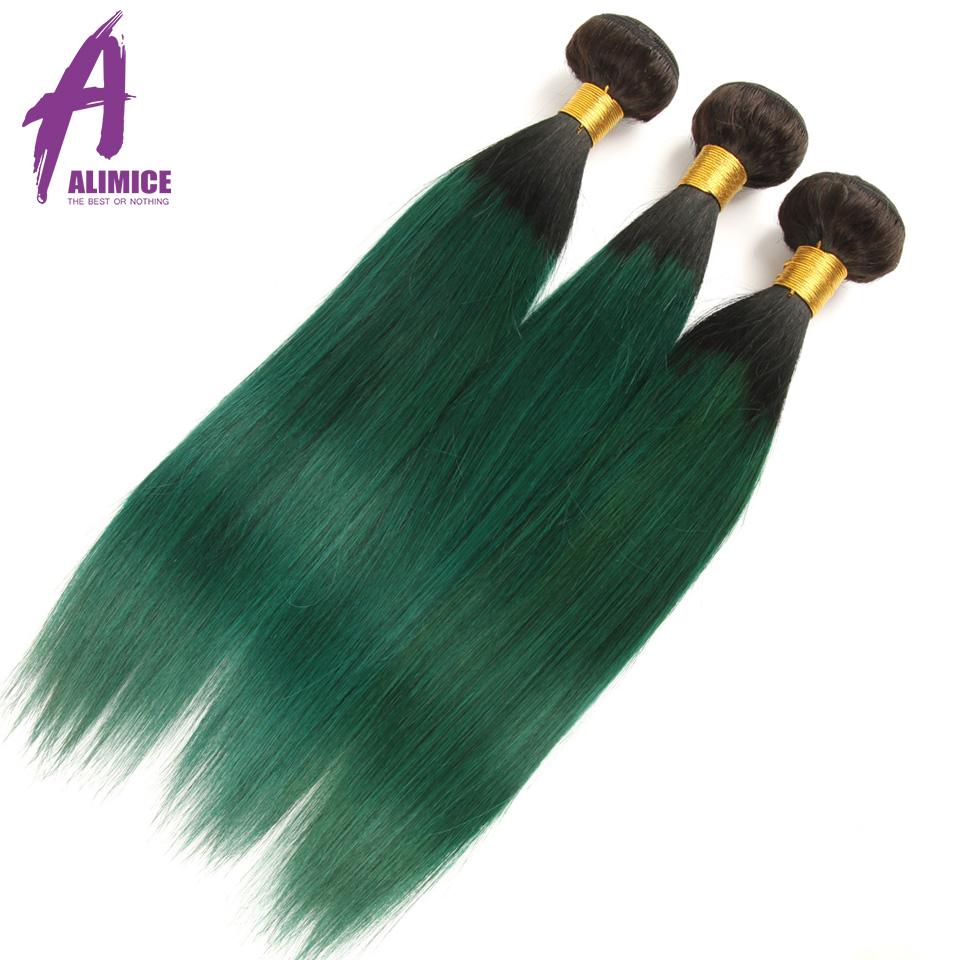 Alimice Ombre Bundles With Closure 3 Bundles With Closure 4PcsLot T1BGreen Dark Roots Brazilian Straight Human Hair Bundles (21)