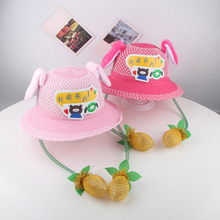 Cute Bunny Fisher Hat Funny Playtoy Ear Up Down Rabbit Sun for Kids Girls Ears Move Childrens Straw Outdoors