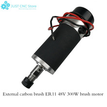 цена на High-speed air-cooled spindle dc motor external carbon brush grinding 300W 48V ER11 DC48V