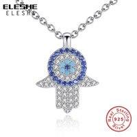 ELESHE Kristal Nazar El Hamsa Kolye Kolye 925 Ayar Gümüş Takı Oymak Womens Klavikula Bağlantı Zincirler