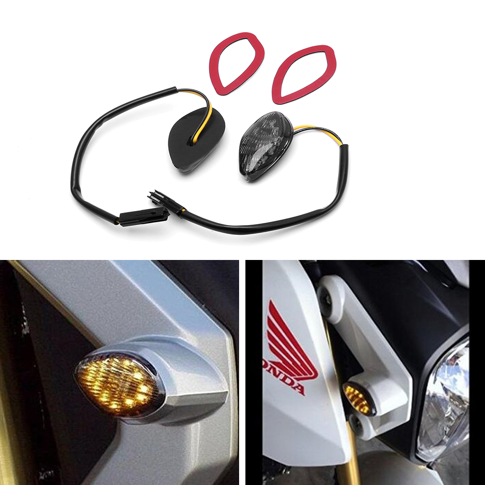 2X 12V Smoke Lens LED Turn Signal Light For Honda Grom 2014-2016 Flush Mount LED Turn Signals Warning Lamp Amber/Red Light