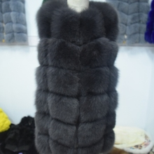 Натуральный мех пальто Бросился рукавов жилет 70 см Натуральный Реальный Лисий Новый 2017 Зима длинный толстый Для женщин натуральная Мех жилет Куртка Пальто и пуховики для