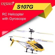 Syma S107G 3CH RC helicóptero aleación fuselaje USB carga helicópteros RC con giroscopio LED luces versión amarilla