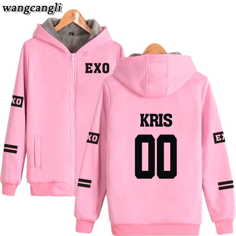 2018 EXO Kpop Harajuku Hoodies Women Thicker Fluff Coat Chen Hip Hop Winter Sweatshirt Women Female Zipper winter Jacket Women