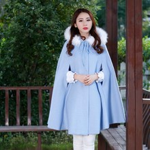 Womens Capes And Ponchoes 2015 New Autumn Winter Long Vintage Wool Coat Women Hooded Fur Poncho Manteau Femme Cloak