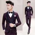 Luxury Wine Red Suit Autumn Winter Baroque Tuxedo Dress Suits Slim Fit Ternos Masculino Designer Dinner Suit Maillot Homme 3pcs
