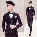 Vino Rojo Traje Otoño Invierno de lujo Barroco Vestido de Esmoquin Trajes Slim Fit Diseñador Esmoquin Ternos Masculino Homme Maillot 3 unids