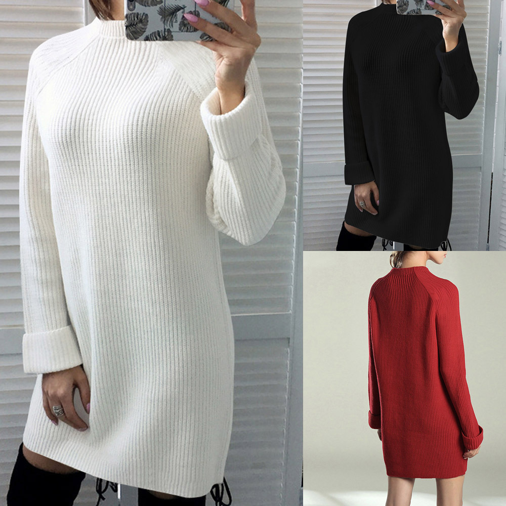 Winter Dresses Women 2019 Fashion Clothing Casual Long Sleeve Knitted Sweater Dress Femme O-Neck Mini Short Street White Dress