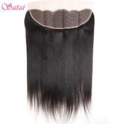 Satai прямые волосы уха до уха Кружева Фронтальная 13x4 закрытия свободной части 130% судьба 10-18 дюймов натуральный Цвет человеческих волос