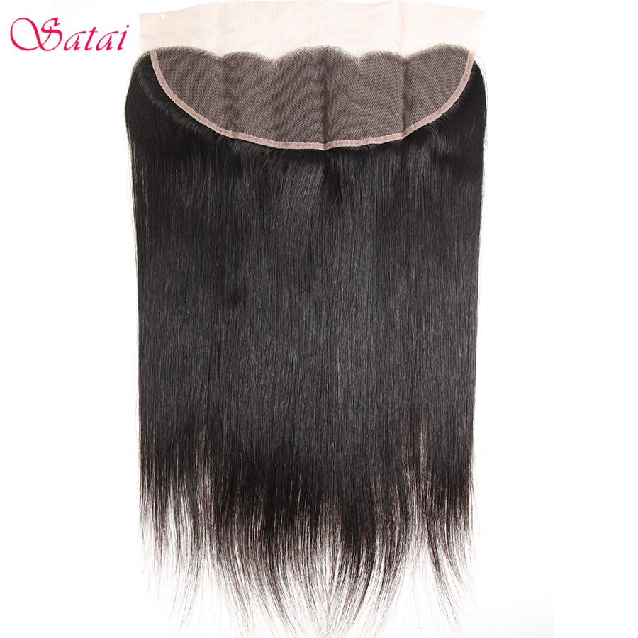 Satai Straight Hair Ear To Ear Lace Frontal 13x4 Closure Free Part 130% Destiny 10-18 tums Natural Color Remy Human Hair