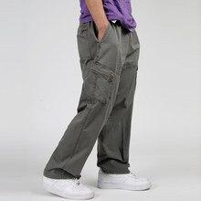 20f475f618 6xl más el tamaño de los hombres Pantalones cargo casual hombres baggy  multi bolsillo Militar general