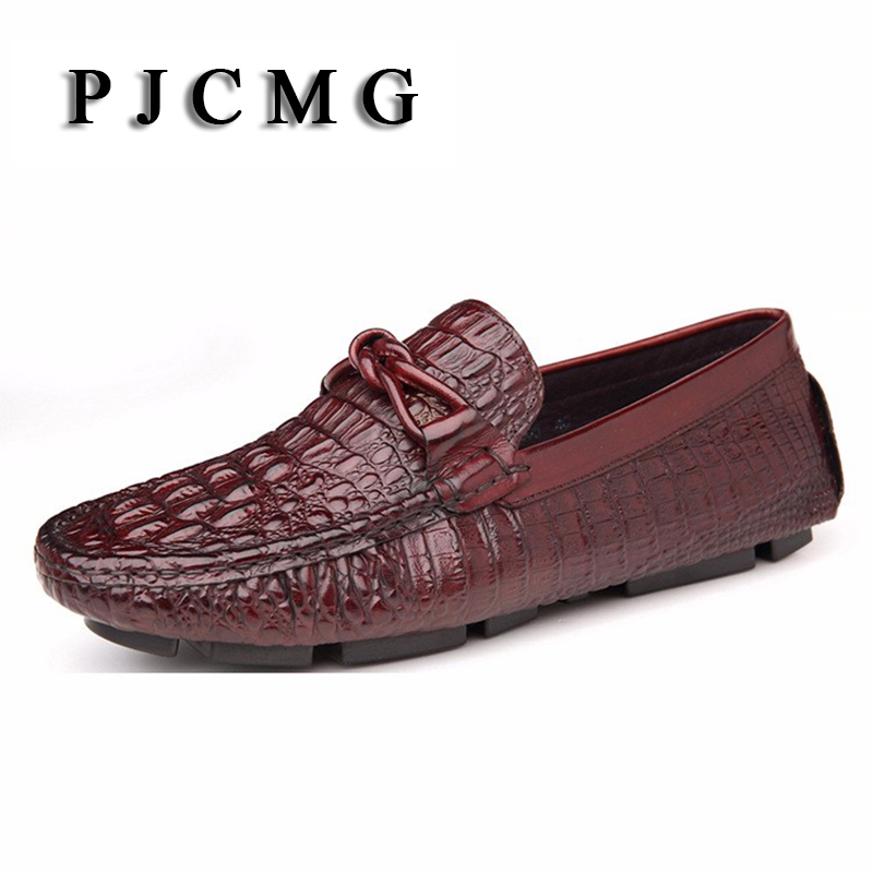 PJCMG Fashion Mens Loafers Genuine Leather Casual Crocodile Designer Slip On Tassel Black/Red Basic Driving Casual Shoes basic editions mens black genuine leather loafers with snakeskin patterns