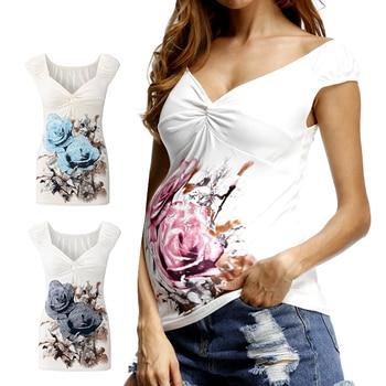 1ca570fc3 Nuevo 2018 verano Floral impresión maternidad embarazada T camisa con  cuello en V ropa de maternidad para las mujeres embarazadas de enfermería  lactancia ...